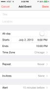 iOS 7 Calendar New Event