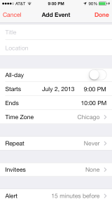 iOS 7 Calendar New Event