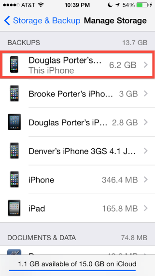 Manage Storage > This iPhone