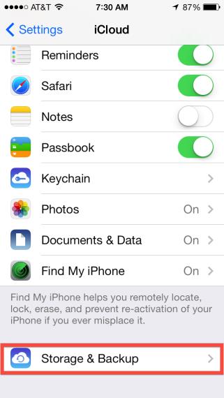 iCloud > Storage & Backup
