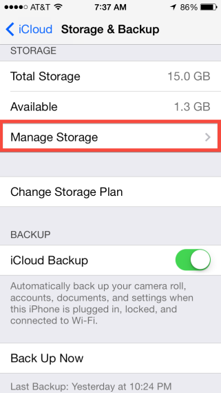 Storage & Backup > Manage Storage