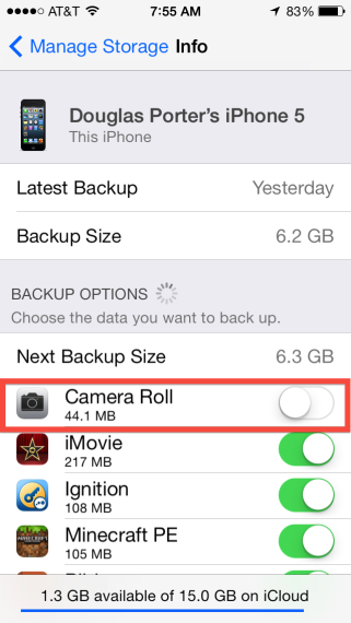 Backup Options > Camera Roll